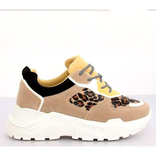 Buty sportowe beżowe LV88P Leopard brązowe