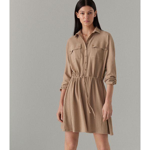 f575310505 Kreszowana sukienka z kieszeniami cargo - Kremowy - Sukienki damskie ...