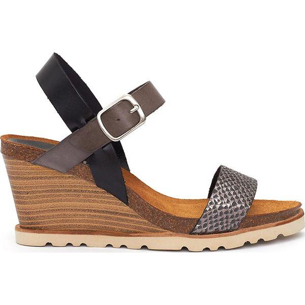 6821e916 Skórzane sandały w kolorze czarno-szarym - Sandały damskie Abril ...