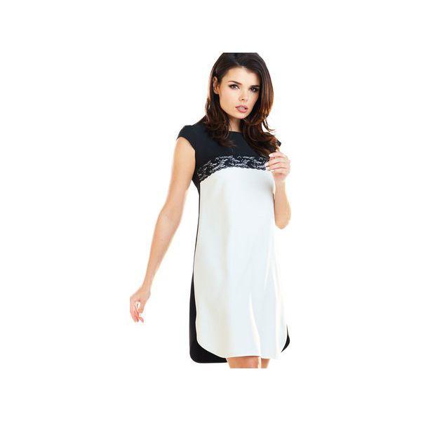 118558a55e Czarno-biała sukienka z koronką z krótkimi rękawami B254 - Sukienki ...