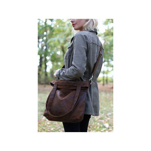 Brązowa torba z zamszu eko