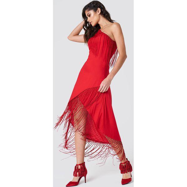 3b04e2c327 NA-KD Boho Sukienka na jedno ramię z frędzlami - Red - Sukienki ...