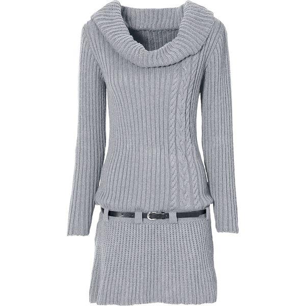 57c4386d83 Sukienka dzianinowa z paskiem bonprix szary melanż - Sukienki ...
