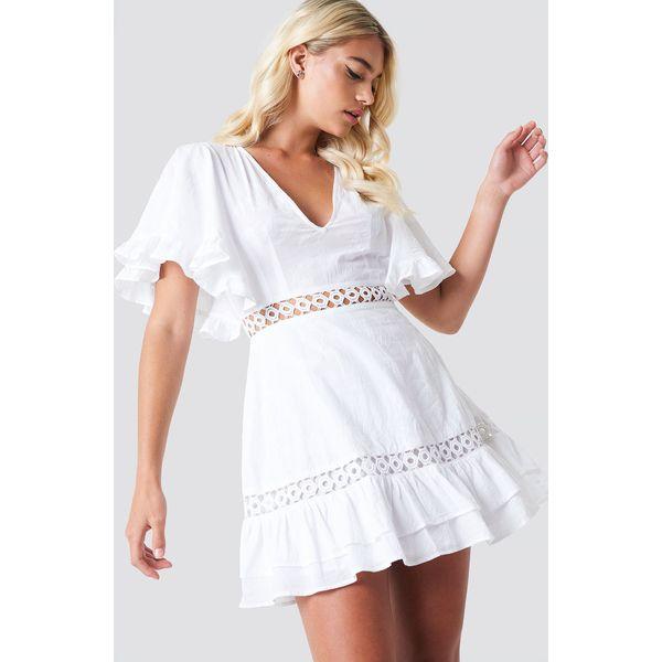 c3cdddd4247fdf Linn Ahlborg x NA-KD Sukienka z szerokim rękawem - White - Sukienki ...