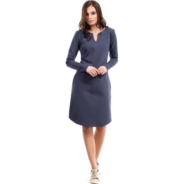 f54c26cf1b Niebieska Sukienka Trapezowa z Długim Rękawem - Sukienki damskie ...