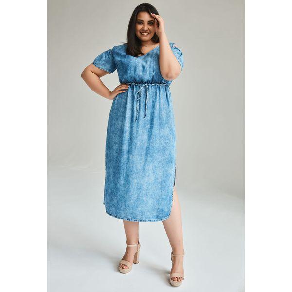 185c3247 Jeansowa sukienka Daria MAXI denimowy odcień duże rozmiary OVERSIZE PLUS  SIZE LATO