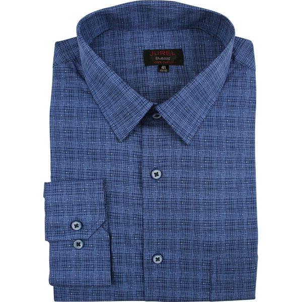 Granatowa Klasyczna Bawełniana Koszula Męska, Długi Rękaw  Fga6m