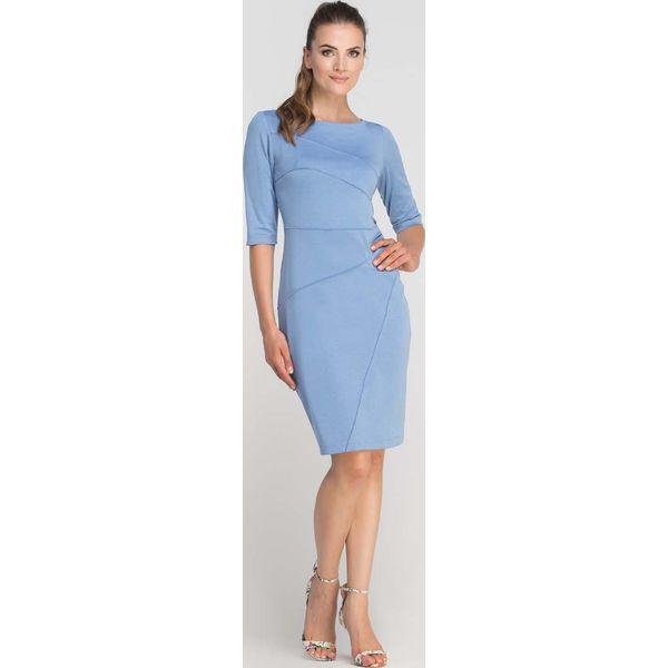 d1a8b5da Błękitna Sukienka Ołówkowa z Ozdobnymi Przeszyciami