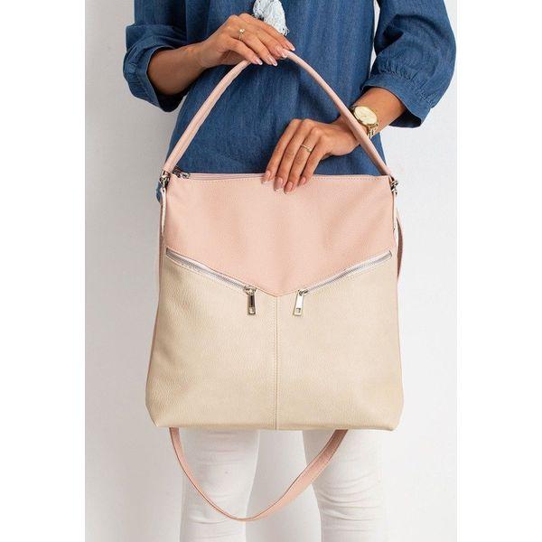 Torebka damska shopper bag 0008 różowa beżowa różowy