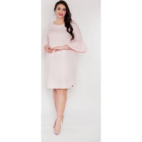 fede873bf0 Trapezowa różowa sukienka rękaw falbanka flamenco oversize PLUS SIZE ...