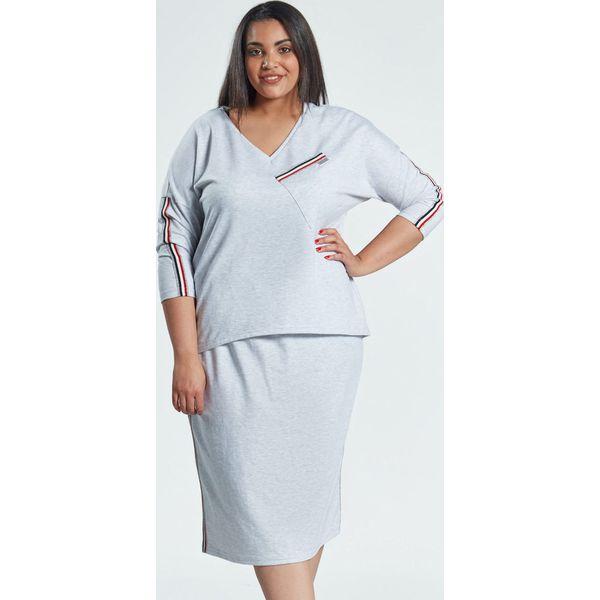 Groovy Spódnica z bluzką w szarym komplecie Blanca OVERSIZE PLUS SIZE MQ52