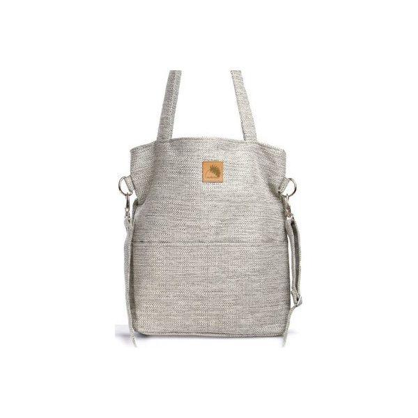 56dec5643869c Szara torba na ramię imitacja lnu A4 - Torebki klasyczne damskie ...