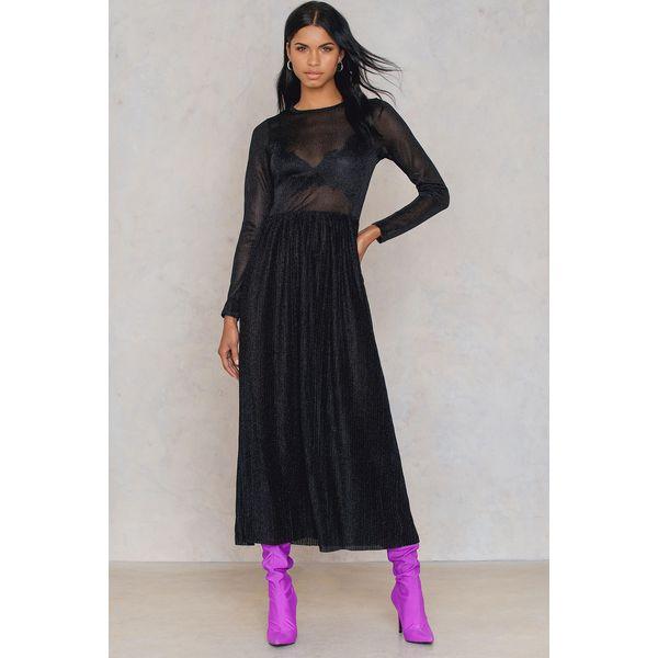 ae512976cf NA-KD Party Błyszcząca plisowana sukienka z długim rękawem - Black ...