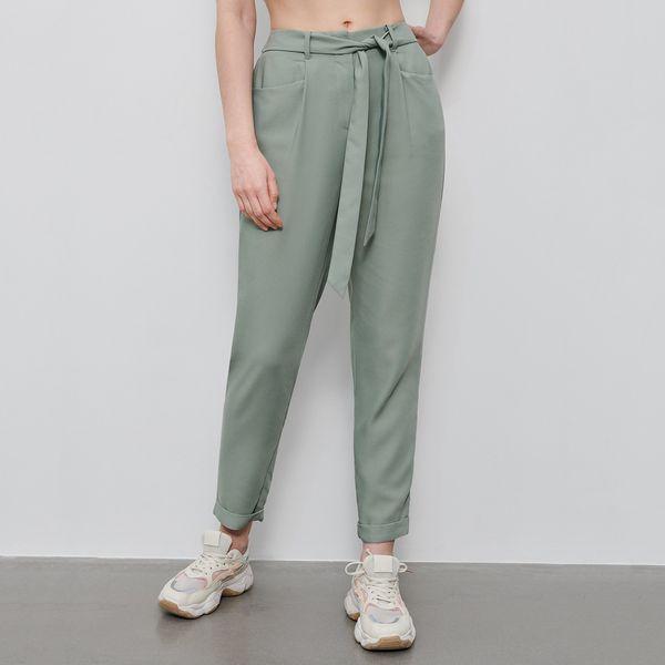 Spodnie z wiązanym paskiem Zielony