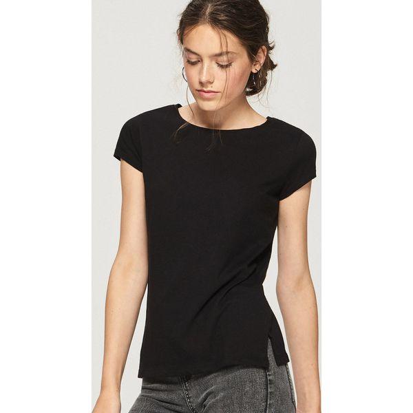Czarny t shirt ze stójką Czarny Czarne t shirty damskie