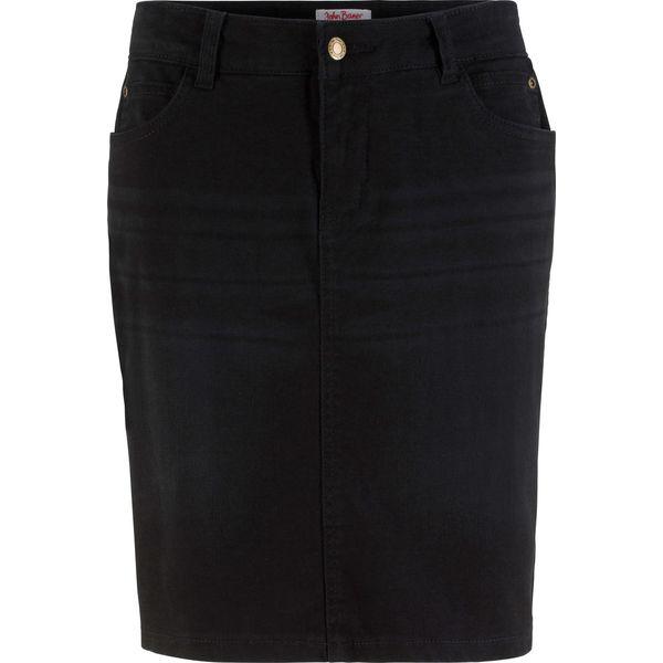 e481860a Spódniczka dżinsowa ze stretchem bonprix czarny twill