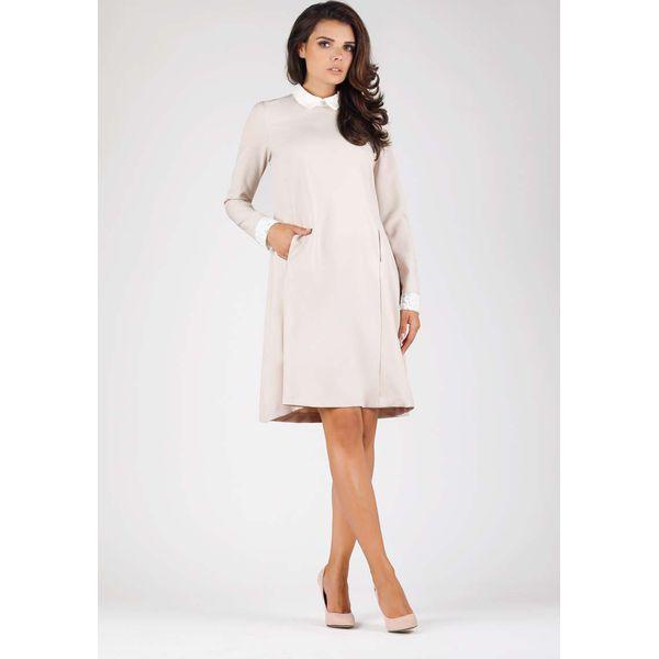 805fc51d06 Beżowa Wizytowa Sukienka Trapezowa z Białym Kołnierzykiem - Sukienki ...