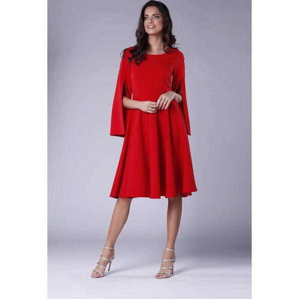 03bb861ca63ff0 Czerwona Sukienka Midi z Wirującym Dołem i Rozciętym Rękawem ...