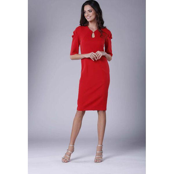 31a9d64529 Czerwona Elegancka Dopasowana Sukienka z Drapowaniem na Rękawie ...