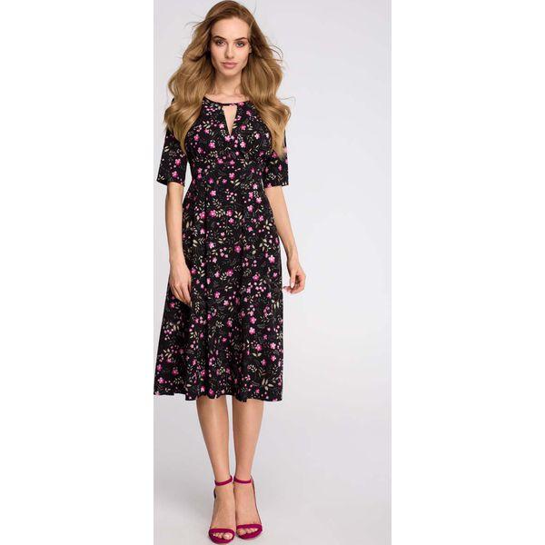 0f973c99 Czarna Stylowa Sukienka Midi w Kwiatki