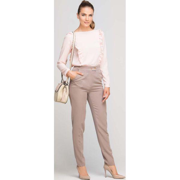 3ccbc2478d22 Beżowe Eleganckie Spodnie z Podwyższonym Stanem - Spodnie ...