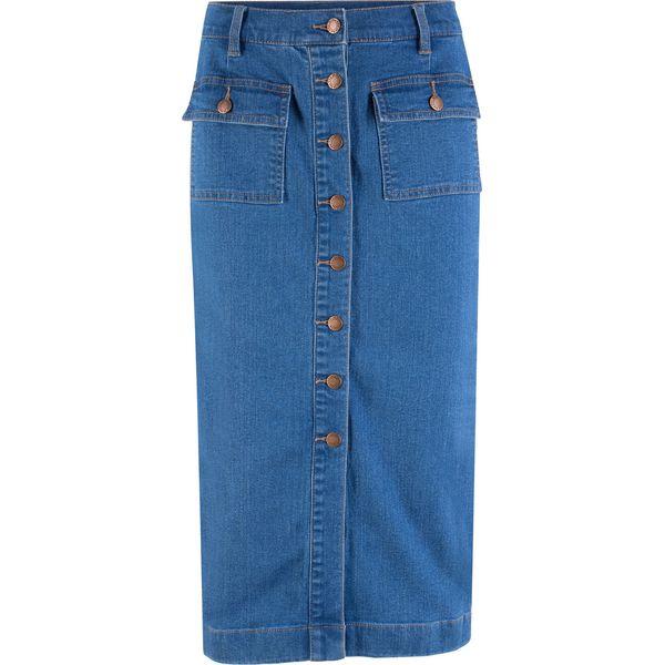 cca2a8d7 Spódnica dżinsowa ze stretchem midi bonprix niebieski