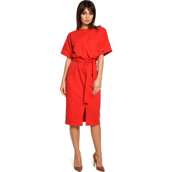 ae5914f5b59742 Czerwona Sukienka Midi z Rozcięciem na Przodzie - Sukienki damskie ...