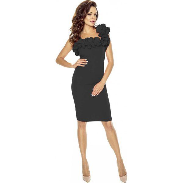 f2028f6a6f Czarna Sukienka Koktajlowa z Asymetryczną Falbanką - Czarne sukienki ...