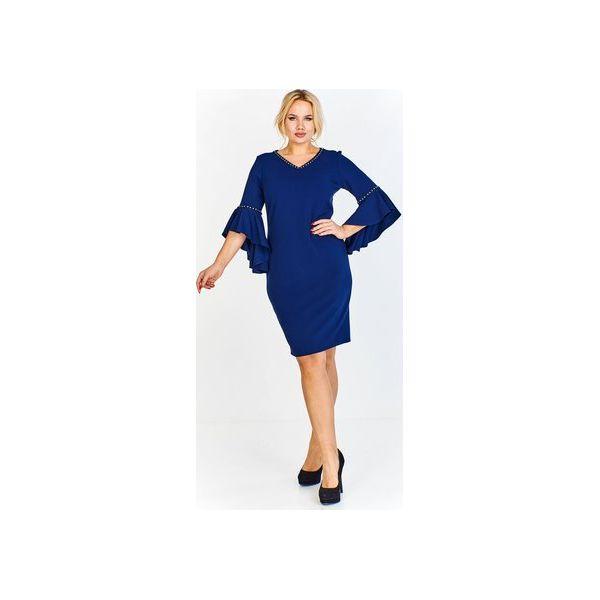 205cd168c9297b Ołówkowa sukienka z rękawem 3/4 wykończonym asymetryczną falbaną i ...