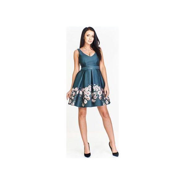 682d86b60d Sukienka rozkloszowana ku dołowi z połyskującej tkaniny ozdobiona ...