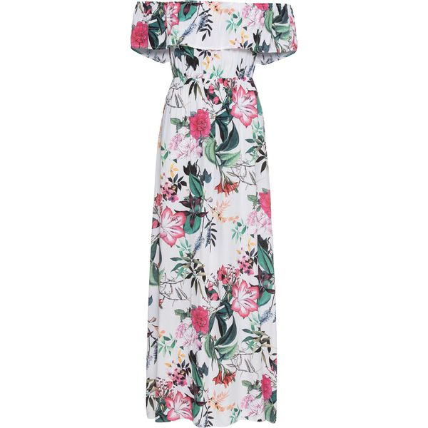 ec676477 Długa sukienka z nadrukiem bonprix biały w kwiaty