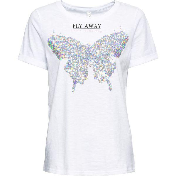 53b7cfc12 T-shirt z nadrukiem bonprix biały - T-shirty damskie marki bonprix ...