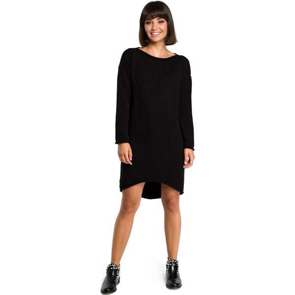 96d706d7c1 Czarna Asymetryczna Swetrowa Sukienka z Dekoltem w Łódkę - Sukienki ...