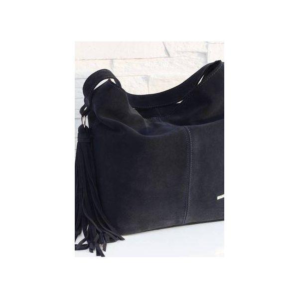4f718268aa3e2 Zamszowa Shopper boho granatowy - Shopper bag damskie marki Fabiola ...