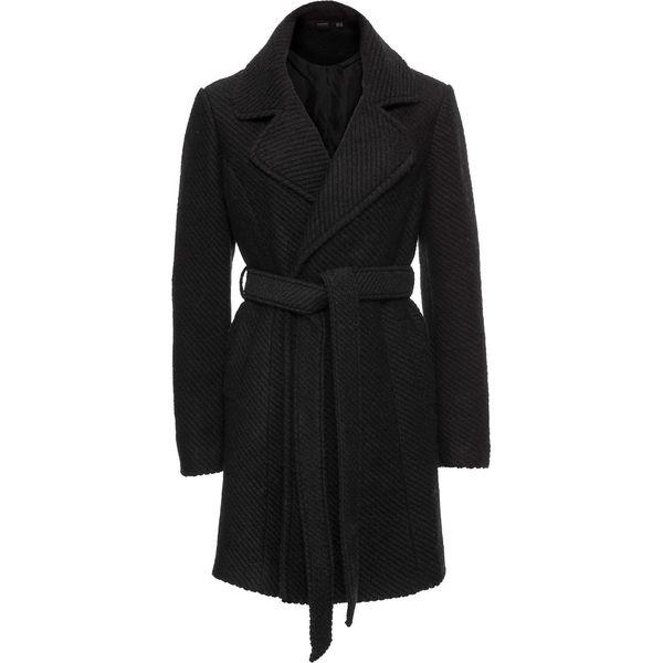 b35cdd1a91de Płaszcz wełniany z wykładanym kołnierzem bonprix czarny - Płaszcze ...