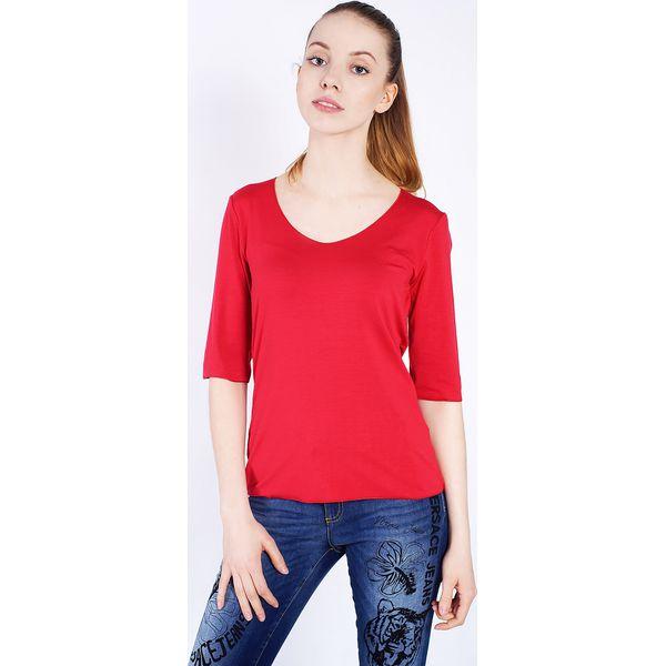 f8e6fc53955269 Czerwona bluzka damska z rękawem 3/4 - Czerwone bluzki damskie ...