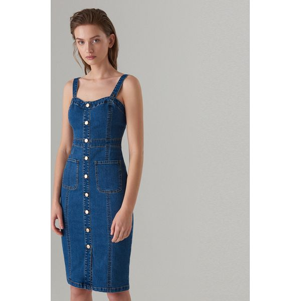 97c3fc2164 Jeansowa midi sukienka - Niebieski - Sukienki damskie marki Mohito ...