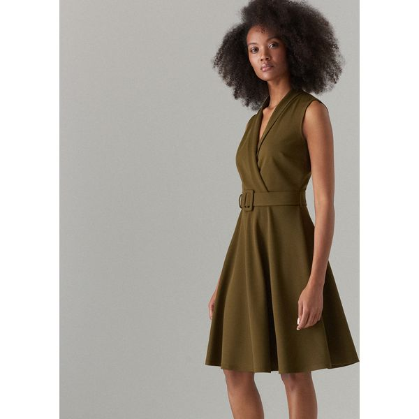 fedd11009f Rozkloszowana sukienka z paskiem - Khaki - Sukienki damskie marki ...