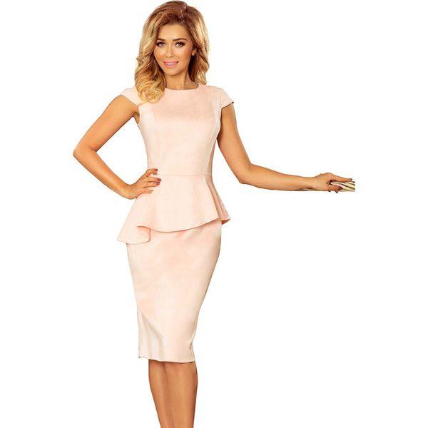 38463866dd340 Jasnoróżowa Elegancka Ołówkowa Sukienka Midi z Asymetryczną Baskinką ...