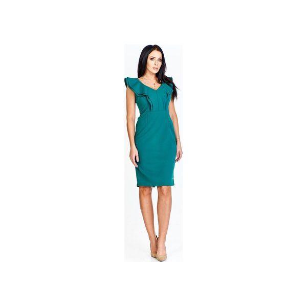 72d1d89757 Monochromatyczna sukienka z falbaniastymi półrękawkami i tworzącymi ...