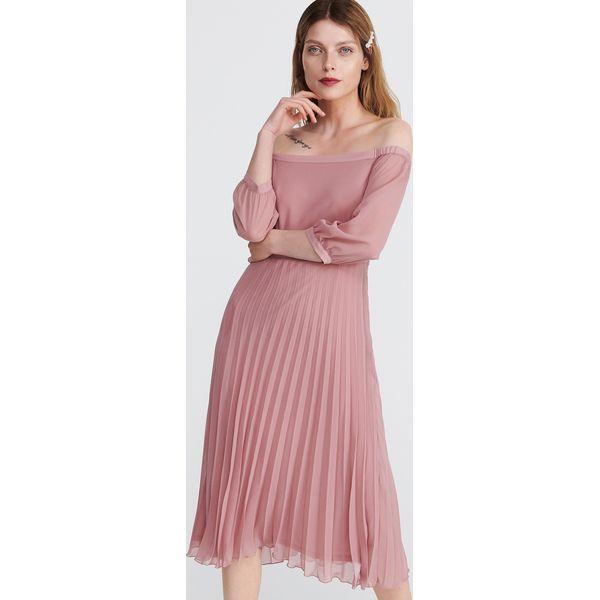 9b73a2f872 Sukienka z odkrytymi ramionami - Różowy - Sukienki damskie marki ...