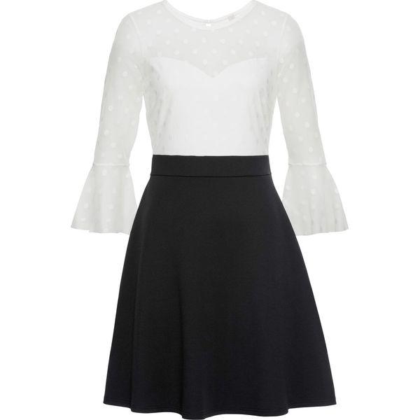 a55d33b973 Sukienka z siatkową wstawką bonprix czarno-biały - Sukienki damskie ...