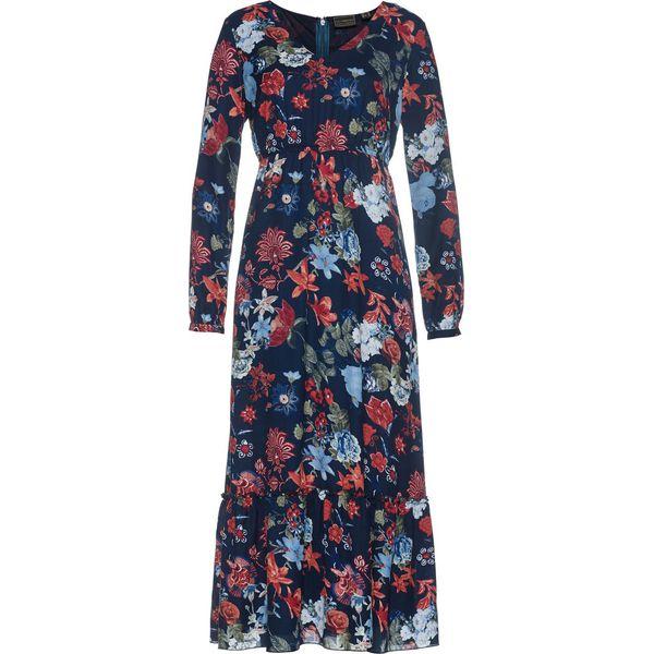 e98dc1596f Sukienka szyfonowa bonprix ciemnoniebieski z nadrukiem - Sukienki ...