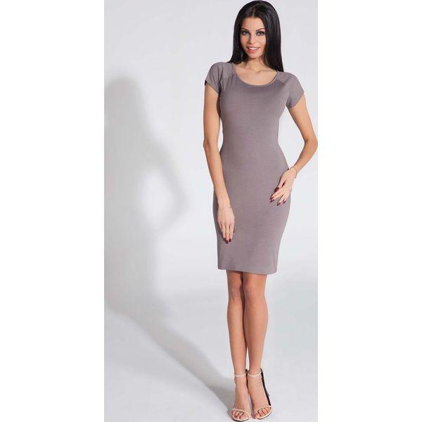 f1372087a4 Cappuccino Sukienka Dopasowana z Odkrytymi Plecami - Szare sukienki ...
