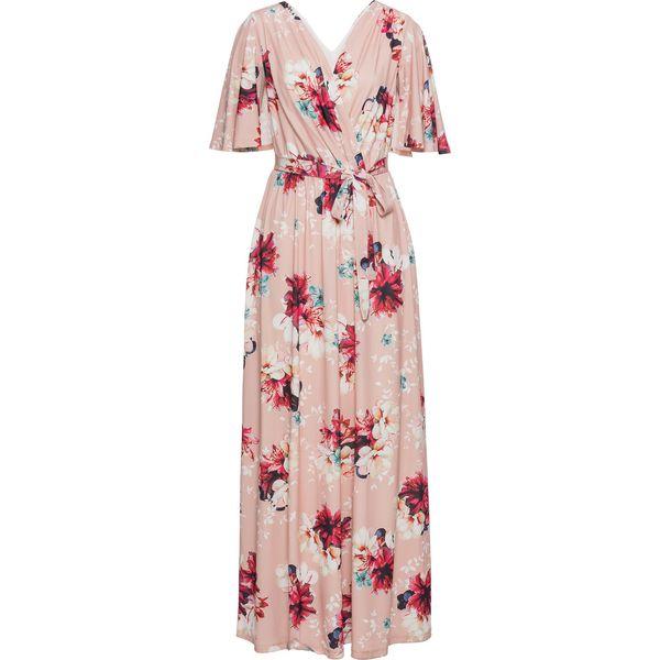 d3376192bd Długa sukienka z dżerseju bonprix dymny różowy w kwiaty - Sukienki ...