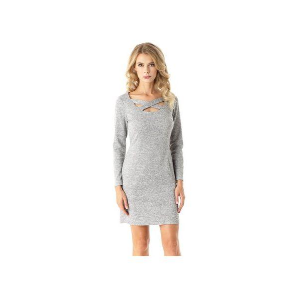 b6d13018c5 Dopasowana sukienka z paskami Emily szara ED024-1 - Sukienki damskie ...