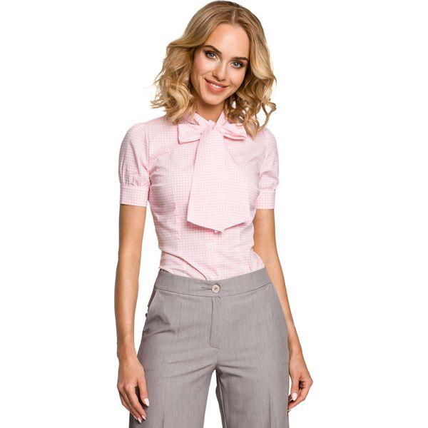 Świeże Koszulowa Bluzka w Kratkę z Kokardą pod Szyją - Różowy - Bluzki MX85