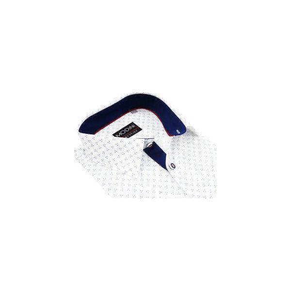 00751d403dc644 Biała koszula w granatowe kropki A14 DŁUGI RĘKAW - Koszule męskie ...