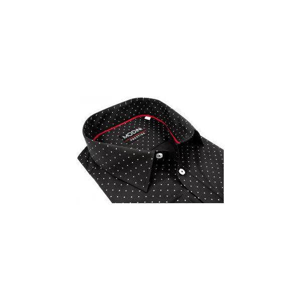 e76f8b02679a00 Czarna koszula męska w drobne białe kropki A24 - Białe koszule ...