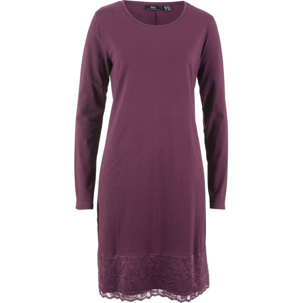 44150cbd5 Sukienka shirtowa z koronką, długi rękaw bonprix czarny bez ...